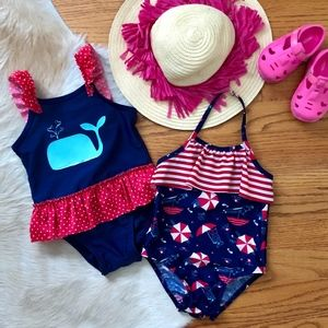 Red, White, & Blue Nautical Toddler Bathing Suits